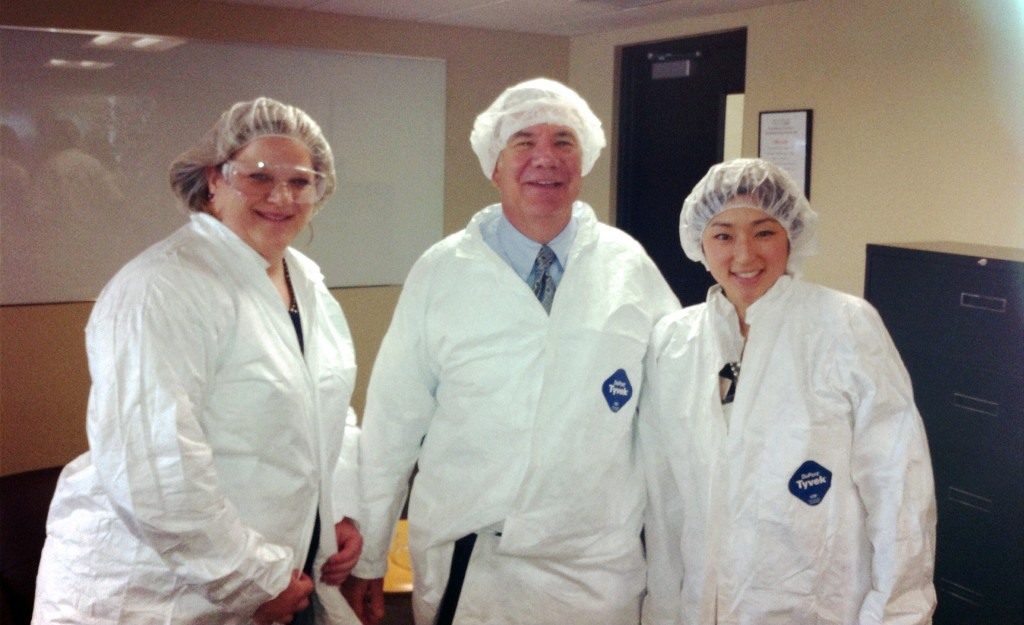 "Deane and his friends from Grand Rapids The Right Place, Therese and Meagan got ""dressed up"" for the Amway plant tour!"